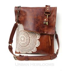 Boho Leather Messenger Bag with Antique Key and Crochet Doily by UrbanHeirlooms