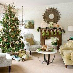 An earthy holiday color scheme of green and brown gives a natural look to this Christmas living room. Green-and-white stockings hang from a wooden mantel, and light brown throw pillows sit on off-white armchairs. The colors are consistent through tree decorations, with bright green glass ornaments and creamy felt poinsettia flowers. Woodsy ribbon and an owl ornament wrap a light green box under the Christmas tree, and other patterned wrapping papers play up the mellow, earthy tones. Editor's…