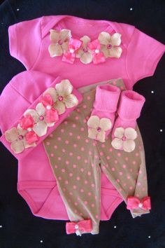 Newborn BABY girl outfit set layette Onesuit pants beanie hat sock rhinestone pearls bow flower accent from BeBe Bling Boutique. My Baby Girl, Baby Girl Newborn, Baby Love, Baby Girl Fashion, Kids Fashion, Baby Kids Clothes, Future Baby, Future Daughter, Cute Babies