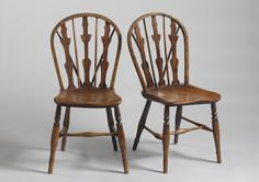 An Unusual Pair of Triple Splat Windsor Side Chairs (From Robert Young Antiques)  #FolkArt