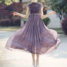 ドレス-ロング 【結婚式・パーティー】妖精バイオレット・シフォンドレス