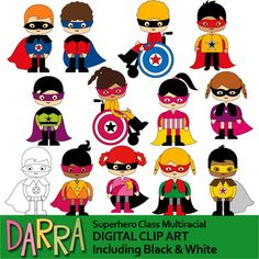 Superhero Class Multiracial clip art. A super fun multicultural kids clipart set. Great for back to school centers projects! Boys and girls, standing and in wheelchairs. This clip art set can be purchased in a BUNDLE at a discounted price. Check link below: Link-Clip art commercial use - Superhero clipart Vol. 2 - Surprise Me Growing Bundle