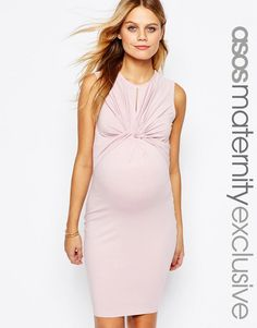 Image 1 ofASOS Maternity Twist Knot Front Sleeveless Bodycon Dress