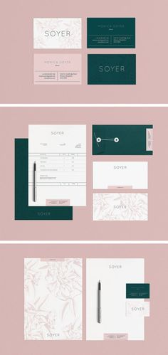 Soyer branding using beautiful combination of millennial / blush pink and deep green. Clean logo type works well with subtle texture on the letterhead. Professional identity with fun, modern feel. #design #designideas #branding #designinspiration #brand #designer #typography #brandidentity
