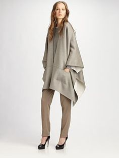 """office wear Very similar to the TSE Vapour Grey zip front knit cape worn by Olivia Pope in Scandal season 3 episode 17 """"Flesh and Blood. Cashmere Cape, Cashmere Jacket, Nerd Fashion, Fashion Editor, Stylish Outfits, Fashion Outfits, Womens Fashion, Nerd Mode, Olivia Pope Style"""