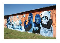 Cape Town Graffiti: Animals going crazy. I love this one, see it everyday on the Best Street Art, Mural Art, No One Loves Me, Cape Town, Geography, Fireworks, South Africa, Sculpting, First Love