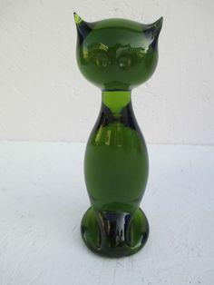 VIKING GLASS GREEN CAT NICE!! #VIKINGGLASS