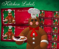 "Gingerbread Man ""Cookies"" Kitchen Labels - Digital Download by DinkyPrints"