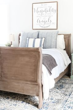A thrifted bed gets a painted weathered wood Restoration Hardware look with no messy furniture stripping and in 3 quick steps.