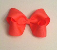 Neon Pink Bow Clip by LRSBowtique on Etsy, $3.00