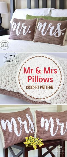 These Mr. & Mrs. crochet pillows will make such a nice wedding present. I think the happy couple will really like them #pillows #ad #weddingpresent #homedecor