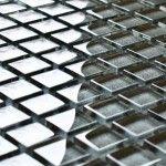 Grey glass mosaic tiles Kitchen Mosaic, Glass Mosaic Tiles, Grey Glass, Glass Texture, Mosaics, Copper, Interior Design, Red, Nest Design