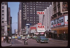Old time Chicago. Randolph Street facing West. Oriental Theatre on the right.