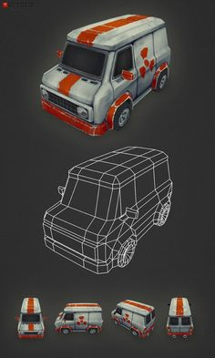 Low Poly Van My second car model is done! This one is some sort of Death Ralley ice cream van. )
