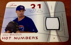 2004 Flair Greg Maddux Hot Numbers Game Jersey 17/18 Chicago Cubs baseball  #ChicagoCubs