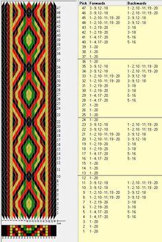 20 tarjetas, 5 colores, repite cada 12 movimientos // sed_419 diseñado en GTT༺❁