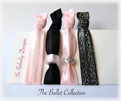 Soft elastic black and pink hair ties Ballet hair ties, yoga hair ties, charm bracelet, dance hair ties, dance gift, dance recital gift