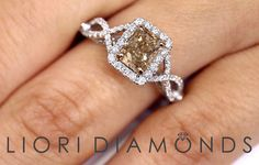 2.16 CTW Fancy Champagne Brown Diamond Engagement Ring 18k ~ Watch LIVE Video ~  #LioriDiamonds #DiamondEngagementRing