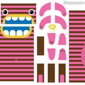 Hungry Monster Laundry Bag: Pink/Brown by sammyk