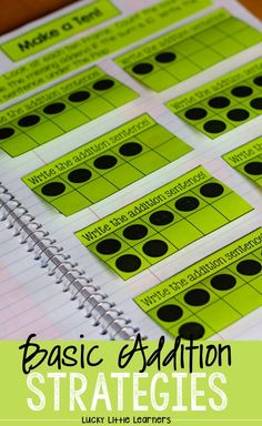 Basic Addition Strategies are fun to teach with interactive notebooks.  Addition games, addition activities, and addition practice are all included in this notebook.  These math activities are perfect for guided math and math centers.  Addition strategies included are zero facts, turn around facts, counting on, doubles facts, near doubles, make a ten, part part whole, and combine numbers.