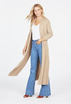 750a0ba1ad1 Ribbed Longline Cardigan in Heather Cappuccino - Get great deals at JustFab  Flanell, Longline Cardigan
