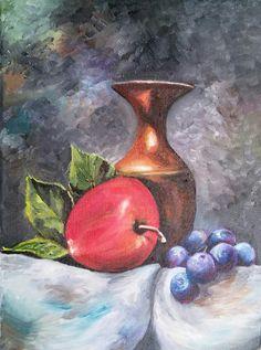 Zeynep Yavuz Still Frame, Still Life Flowers, Fruit Painting, Paintings, Vase, Home Decor, Art Therapy, Decoration Home, Paint