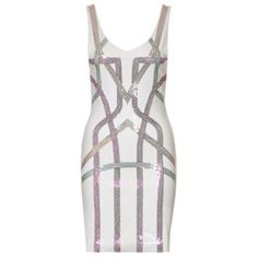 NWT Hunt No More White Embellished Cocktail Dress White, bodycon, exposed zipper, abstract design on front only Hunt No More Dresses