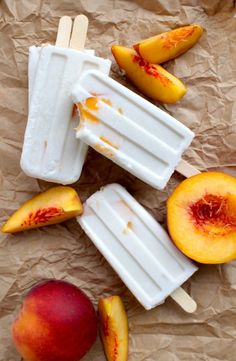 Homemade Popsicle Recipes - How to Make Easy Popsicles These handheld frozen treats are summer's MVPs. Frozen Desserts, Frozen Treats, Just Desserts, Yummy Treats, Yummy Food, Delicious Fruit, Homemade Popsicles, Peach Popsicles, Frozen Popsicles