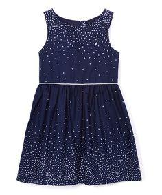 Navy Dot A-Line Dress - Toddler & Girls