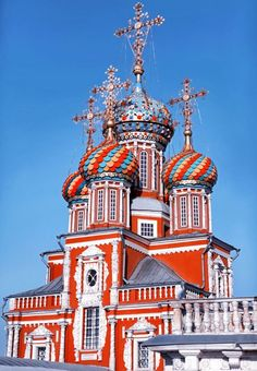Stroganov Church in Nizhny Novgorod, #Russia. Yeah, it looks like St.Basil's Cathedral in Red Square, we know that. #Russian medieval architechture has pretty much a fairytale atmoshere.