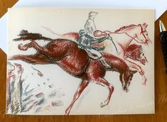 "Note cards from my original pastel drawing ""The Steeplechase"".  * Package of four 4.13 x 5.82 in (10.5 x 14.8 cm) blank note cards * Printed on premium 250 g white card stock * Includes matching white envelope  * Packaged in a protective, clear, resealable sleeve."