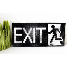 Exit sign hama perler beads by brineh Fuse Bead Patterns, Perler Patterns, Beading Patterns, Perler Bead Templates, Diy Perler Beads, Pixel Art, Hama Beads Design, Peler Beads, Iron Beads