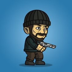 Robber guy character sprite is great for enemy in your side scrolling shooter games (metal slug-like). Buy and sell game assets. 2d Character, Game Character Design, Fantasy Character Design, Character Design Inspiration, Soldier Drawing, Army Drawing, Fantasy Characters, Fictional Characters, Game Assets