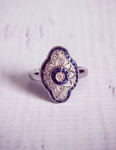 Style Sapphire & Diamond Engagement Ring by TemsahJewelers Antique Rings, Vintage Rings, Antique Jewelry, Vintage Jewelry, Vintage Hats, I Love Jewelry, Art Deco Jewelry, Jewelry Design, Sapphire Diamond Engagement