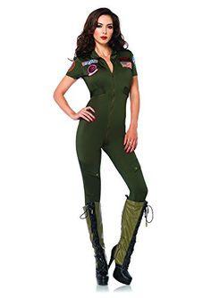 6664cf823ebe56 Leg Avenue Womens Top Gun Flight Suit Costume Khaki Small Halloween  Costumes For Sale