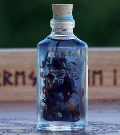 Blue Magic Oil: bay leaf, sweet cinnamon chips from Madagascar, myrrh resin, red rose petals, blue vervain, red wine, hyssop, Celtic and Dead Sea salts... used to eliminate negative energies, break hexes, remove jinxes and uncross conditions.
