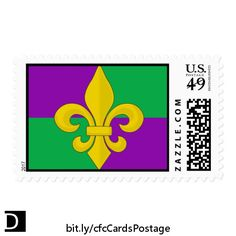 These colorful US first class postage stamps feature a festive gold fleur-de-lis on a purple and green background. They would be nice for stamping envelopes for Mardi Gras party invitations. https://www.zazzle.com/mardi_gras_gold_fleur_de_lis_on_green_and_purple_postage-172544080357456163?rf=238083504576446517&tc=20170501_pint_SSOZ #stationery #MardiGras #StudioDalio Zazzle