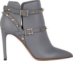 Valentino Rockstud Ankle Boots and other apparel, accessories and trends. Browse and shop related looks. Shoes Boots Ankle, Studded Ankle Boots, Buckle Ankle Boots, Grey Boots, Leather Ankle Boots, Ankle Booties, Heeled Boots, Bootie Boots, Grey Leather