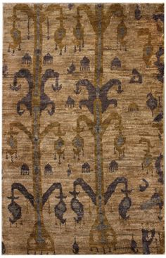 Rugs USA Aguada Sion Hand Knotted Hemp Ikat Natural Rug