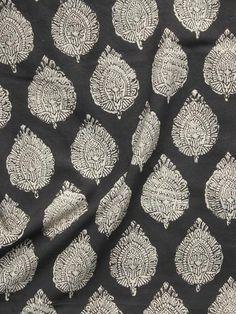 Black Ivory Hand Block Printed Cotton Fabric Per Meter - F001F902