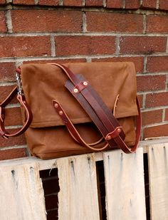 Waxed Canvas Foldover Messenger Bagas seen by RiegelGoodsCompany, $159.00