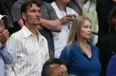 Patrick Swayze and his wife, Lisa Niemi, at the Los Angeles Lakers playoff game on Friday.