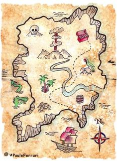 Inspiration: A lively birthday! Ideas for a successful children& party - Save The Deco, Treasure Maps For Kids, Pirate Treasure Maps, Pirate Maps, Pirate Theme, Treasure Hunt Map, Deco Pirate, Pirate Activities, Pirate Crafts, Pirate Halloween