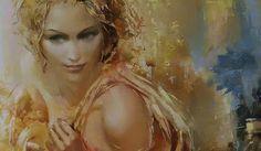 by Roman Garassuta russian painter artist that seamlessly combines realism, abstraction and romanticism Painter Artist, Golden Hair, Gif Animé, Mermaid Art, Romanticism, Face Art, Figurative Art, Modern Art, Art Photography