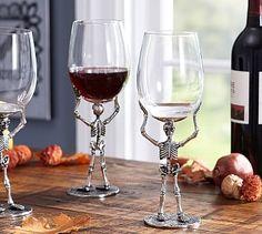 Skeleton Wine Glass #potterybarn