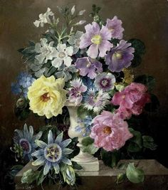"""art-and-things-of-beauty: """" Harold Clayton - Still life with summer flowers, oil on canvas. Flower Vases, Flower Art, Floral Bouquets, Floral Wreath, Early Spring Flowers, Summer Flowers, Pink Flowers, Passion Flower, Art For Art Sake"""
