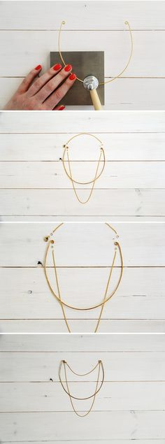 Fall For DIY tutorial Collar & Chain Necklace Minimal Jewelry, Simple Jewelry, Diy Jewelry, Jewelry Making, Necklace Tutorial, Diy Necklace, Collar Necklace, Metal Choker, Metal Necklaces