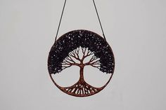 12 Tree Of Life Wall Decor Hanging - Amethyst Gemstone Wire Tree   The tree is made with copper wire and big amethyst gemstone beads The ring size is 12 inch or 30 centimeters The tree is holded with a leather string    Airmail shipping priority   For more questions please contact.