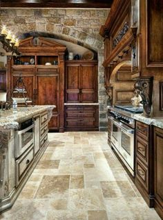 Granite counter tops with wooden cabinets