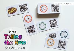 Telling the time - free QR dominoes Free resources for teachers and parents. English for kids. ESL